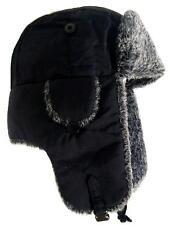 WINTER RUSSIAN TRAPPER HAT mens small black & grey fur cossack Soviet ushanka