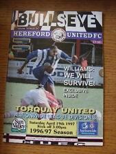 19/04/1997 HEREFORD Uniti V Torquay Unito [ ultimo League Stagione HEREFORD ] (team