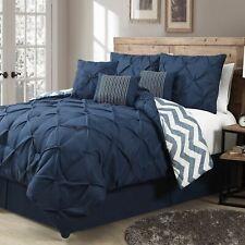 Queen King Bed Navy Blue White Chevron Pintuck Pleat 7 pc Comforter Set Bedding