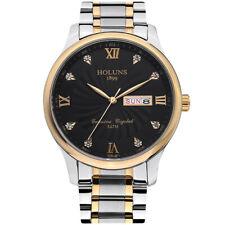 HOLUNS Silver Stainless Steel Wrist Watches Quartz Business Men Date Display