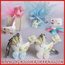 Bomboniere confettate nascita battesimo portachiavi carrozzina bimbo bimba