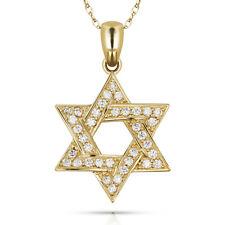 0.78CT Star Of David Created Diamond Pendant & Necklace 14k Yellow Gold