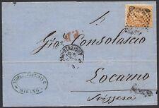 REGNO 1874 - 10 c. n. T17 MILANO X LOCARNO, RAGGIO LIMITROFO !!