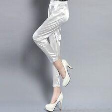 Women Ankle-length Pencil Pants Trousers Shiny Imitation Silk Satin Casual