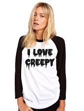 I Love Creepy - Cute Goth Womens Baseball Top