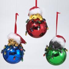 Dog on Shiny Ball Ornament