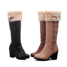 Knee HIgh Womens Retro Vintage Leather Fur Trim Winter Boots Bowtie