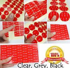 CLEAR, BLACK, GREY ~ 1mm Thick ~ 3M VHB Acrylic Foam Tape PADS ~ SQUARES CIRCLES