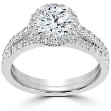 1 1/2 ct Diamond Halo (1ct center) Engagement Wedding Ring Set 14k Gold Enhanced
