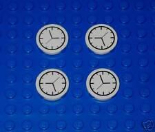 x4 NEW Lego Clock 2 x 2 White Round Tile Clock sp64
