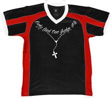 Only God Can Judge Me Chain Cross Tattoo Christian Jesus Men's V-Neck Sport Tee