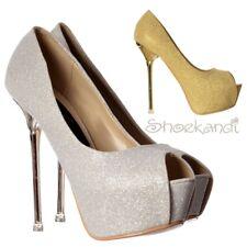 Womens Glitter Peep Toe Party Prom High Heel Stiletto Gold Silver Chrome Heel