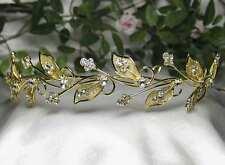 FLORAL CLEAR AUSTRIAN RHINESTONE CRYSTAL TIARA HEADBAND BRIDAL WEDDING -GOLD