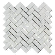 Carrara White Italian (Bianco Carrara) Marble 1 X 2 Herringbone Mosaic Tile