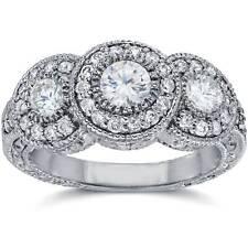 1 1/2ct Vintage Three Stone Diamond Engagement Ring 14K White Gold