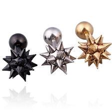 Stainless steel Hip-Hop lady Mens Punk Spike Rivet ball Screw Ear stud Earrings