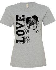 Love A Bulldog Fitted T Shirt English Bulldog Women's Fitted Crew Neck Shirt