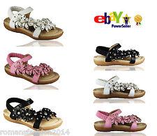 Niños y niñas Diamante Sandalias Niños Gladiador Zapatos Planos Verano Talla Puntera Abierta