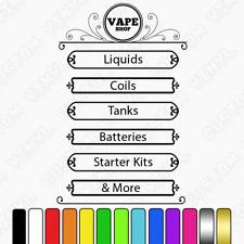 Vape Shop Personalizado Precio/lista de productos, lista de los servicios, Ventana Tienda Signo Calcomanía