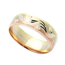 Men 14K Tri Color Gold 6mm Dia Cut Wedding Band Right Hand Plain Ring / Gift Box