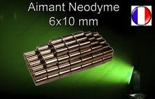 Aimant Néodyme Cylindrique Barre N50  6X10 MM Trés puissant Port Gratuit