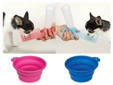 Small Dog Travel Set Portable Handi Drink Water Bottle & Food Bowl  Choose Color