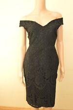 New Lipsy Bardot Black Victoria Lace Dress Sz UK 10  & 14