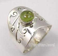 925 Silver CAB FINISH PERIDOT CELTIC FILIGREE HIGH POLISHED Men's Ring Any Size