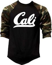 Men's CALI Camo Baseball Raglan T Shirt Cali life California Republic USA Pride