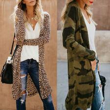 Womens Leopard Kimono Cardigan Open Front Boho Camo Long Sleeve Long Maxi Jacket