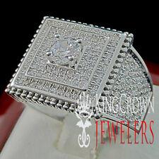 Mens Round Cut Signet 14k White Gold Finish Lab Diamond Ring Pinky Ring Band
