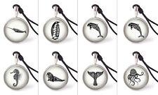 Ocean Creatures Tatoo Art Necklace Pendants Pewter Silver Jewelry Jnp