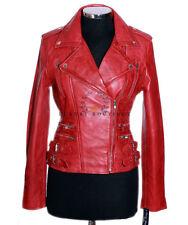 Jessie Red Ladies Women's Rock Chic Biker Retro Real Soft Sheep Leather Jacket