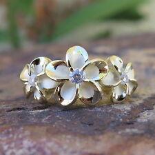 Hawaiian Silver Gold Plated Three Plumeria Flowers CZ Wedding Ring Band SR3375