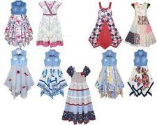 NUEVO niña 100% Algodón Verano PATCHWORK/Estampado Floral vestidos Edad 2-11