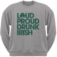 St. Patricks Day - Loud Proud Drunk Irish Heather Grey Adult Sweatshirt