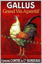 Gallus Rooster 1920 Grand Vin Wine Aperitif Bordeaux France Vintage Poster Print