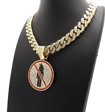 """Full Iced out Cuban Choker Chain Necklace Hip Hop Travis Scott Logo & 12mm 18"""""""