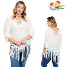 PLUS size Ivory Western Hippie Boho Bohemian Crochet Lace Fringe Tunic Shirt Top