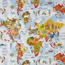 Adventure World Map Rainbow Matte Cotton PVC WIPE CLEAN Tablecloth Oilcloth
