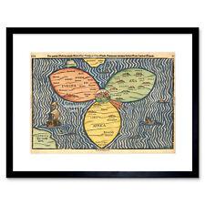 Map Antique JerUSAlem Bunting Clover Leaf World Framed Print 12x16 Inch