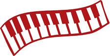 (AP0666 rojo) Aplicación Decoración Teclado de piano versch. Tamaños