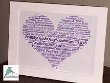 Palabra de arte Personalizado Día de San Valentín Corazón Regalo Esposa Novia Novio Marido