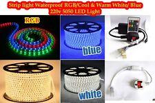 New LED Strip 220V - 240V RGB Waterproof 5050 SMD Lights Rope+ Free AC Adopter