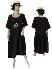 Gr.40 - 52 Kleid Leinenkleid Sommerkleid Kurzarmkleid leicht Schwarz ITALIEN