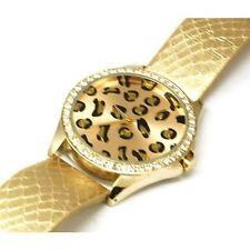 Gold Plt Cheetah Leopardo Jaguar Animal Print Ladies Watch W / Cristales Swarovski
