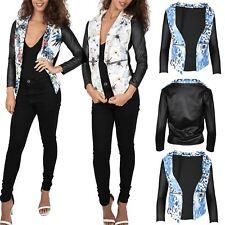 Femme Floral PVC Manche Imprimé Ouvert Cascade poches latérales longue veste