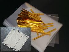 "Cake Pop Kit - 6 ""Palitos, 4x6 Pulgadas Bags & Oro O Plata Lazos"