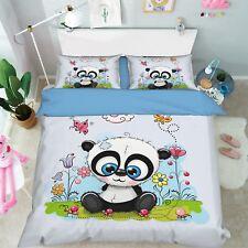 3D Cartoon Panda 799 Bed Pillowcases Quilt Duvet Cover Set Single Queen King CA