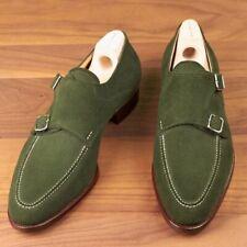 Handmade Mens hunter green suede monk shoes, Mens formal shoes, Men dress shoes